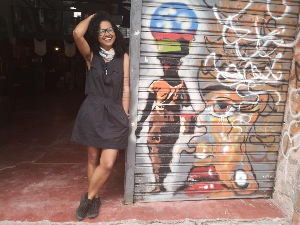 Cintia Cruz outside Aparelha Luzia, São Paulo